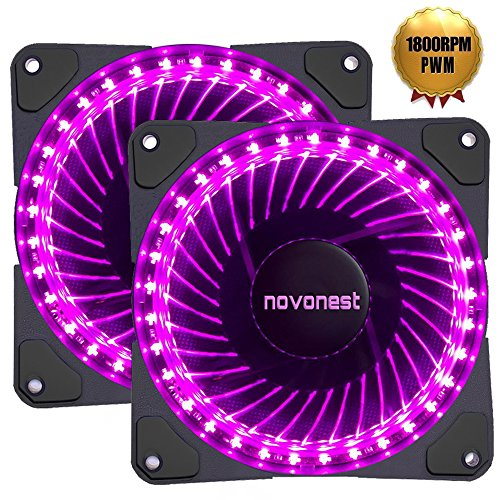 novonest Gehäuselüfter PWM 4pin-LED Quiet Edition 120mm High Airflow lila LED Lüfter,2 Stueck pro Packung,Anti Vibration Gummi Pads (Cpu Purple)