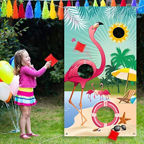 Sommer Flamingo Wurf Spiele mit 3 Nylon Sitzsäcken, Sommer Flamingo Hintergrund Wurf Spiele Banner für Flamingo Thema Party Wurf Spiele Dekoration