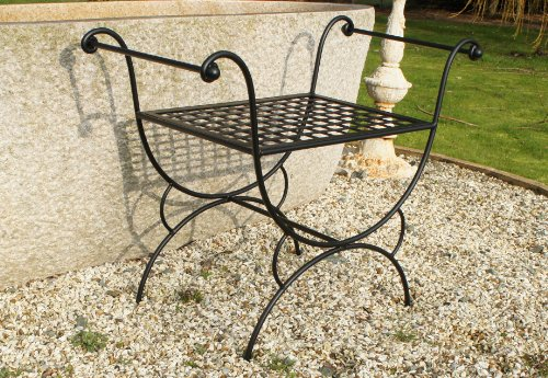 Classically Ornate 'Athens' Stool or Butlers Tray / Table - Suitable for Indoor or Outdoor Use - Available in Two Finishes (Black)