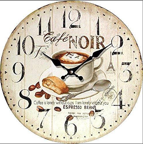 Tinas Collection Wanduhr im Cafe Noir Espresso Design, 30 cm Ø