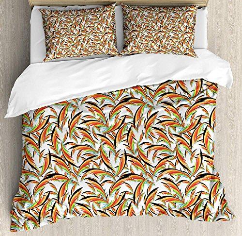LIS HOME Tropische Queen-Size-Bettbezug-Set, exotische Hawaiian Laub Blätter Dschungel Karibik Vibes Havanna-Stil Illustration, dekorative 3 Stück Bettwäsche Set mit 2 Kissen Shams, Multicolor - Havanna 3 Stück