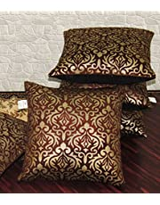 ZIKRAK EXIM Polyester Cushion Covers (Brown, Small, 12x12 Inches) - Pack of 5