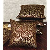 Zikrak Exim Set of 5 Brown Printed Velvet Small Cushion Covers 30X30 cm (12X12 inches)