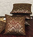 #10: Zikrak Exim Set of 5 Brown Printed Velvet Cushion Covers 30X30 cm (12X12 inches)