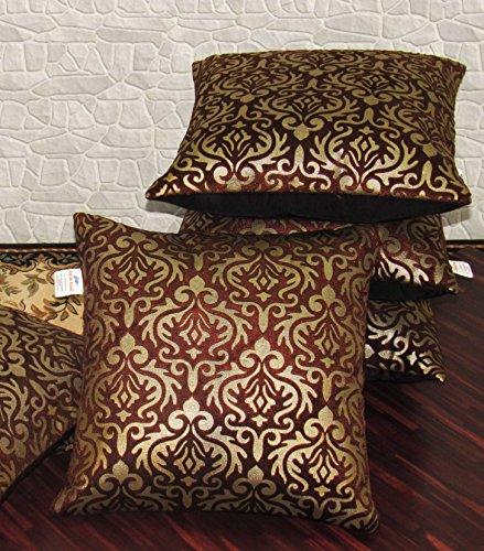 Zikrak Exim Set of 5 Brown Printed Velvet Cushion Covers 30X30 cm...