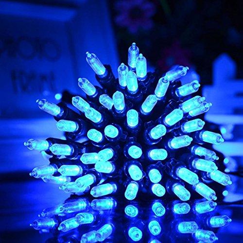 (Solar Lichterkette,SUAVER 33ft 100LED string light 8 Modi Wasserdicht Leuchtmittel Lichterkette Dekorative Beleuchtung Außenbereich Gärten Rasen Hochzeit Weihnachten Party und Urlaub Dekorationen (Blau))