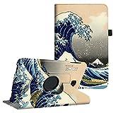 Fintie Hülle für Samsung Galaxy Tab A 10,1 Zoll T580N / T585N Tablet - 360°Drehbarer Stand Cover Case Schutzhülle Tasche Etui mit Ständerfunktion Auto Schlaf/Wach Funktion, Die Wellen