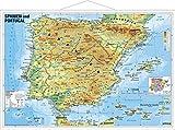 Spanien und Portugal physisch: Wandkarte mit Metallbeleistung - Heinrich Stiefel