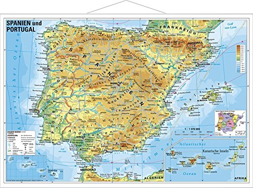 Spanien und Portugal physisch: Wandkarte mit Metallbeleistung
