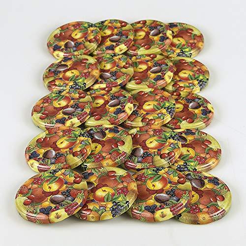 Hartmut Bauer e.K. Ersatzdeckel 20 St. Twist-Off-Deckel 82 mm für Gläser, Obstdekor Deckel für Marmeladengläser, Sturzgläser, Einkochgläser, Konservengläser und Einmachgläser to 82