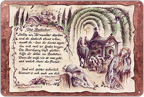 Geschenk Bestatter Bestattung Blechschild 30 x 20 cm