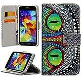 Handy Lux® Schutz Hülle Tasche Kartenfächer Flip Case Etui Cover Involto Motiv Design Hülle BookStyle (Samsung Galaxy S5 mini, Grinse Katze)