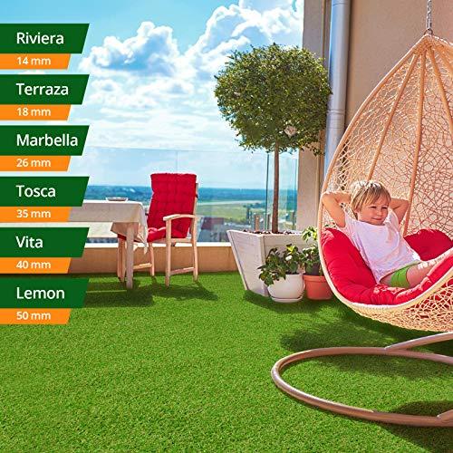 #casa pura Kunst-Rasen in 6 Höhen • Natürlich weich in Echtrasen-Optik • Rasen-Teppich Tosca, 35 mm • Kunstrasenteppich wasserdurchlässig & UV-beständig • Garten, Terrasse, Deko • 100×150 cm#