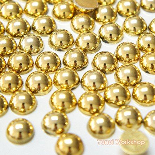 (metallisch Gold, 2mm, ca. 200 Stück) gekünstelt Perle halb runde Form flache Rückseite ABS Harz Strass-Steine Sammelalbum Kunst Nagel Handwerk (Form 2 Gold)
