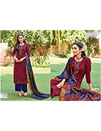 Rosaniya Un-stitched Good Quality Pashmina Wool Embroided & Hand Work Self Printed Salwar Suits For Women With...