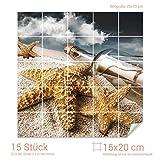 Graz Design 765130_15x20_70 Fliesenaufkleber Flaschenpost/Seesterne | Bad-Fliesen mit Fliesenbildern überkleben (Fliesenmaß: 15x20cm (BxH)//Bild: 70x70cm (BxH))