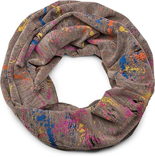 styleBREAKER Loop Schal mit Splat Style Farbklecks Muster im Used Look, Schlauchschal, Tuch, Unisex 01017050, Farbe:Braun