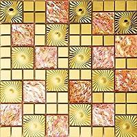 Patrón Oro Rosa Mosaico de vidrio de acero inoxidable Azulejos de mosaico color mixto acero inoxidable mosaico 300*300mm Cocina backsplash / ducha de pared de la pared de la pared / Hotel pasillo pared de la frontera / piso residencial de piso y aplicaciones de la pared SA073-41 (1 pieza)
