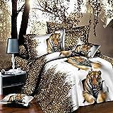 Leopardo Tigre 4piezas Juego de cama 3d animal prints juego de funda de edredón doble tamaño