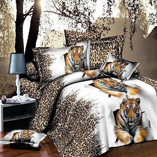 Leopard Tiger 4Betten Set 3D Tier Prints Bettbezug Set Double Größe (Tiger Set Tröster)