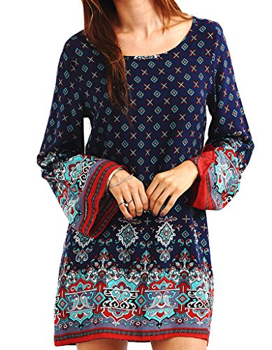oofit-women-long-sleeve-ethnic-style-floral-print-tunic-dress-blue-size-16