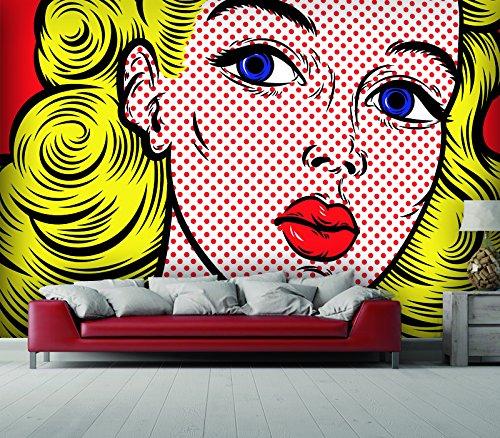 300 Pop-art (Giallobus - TAPETEN STICKER - POP ART - BLOND HAIR - 420X300 CM)