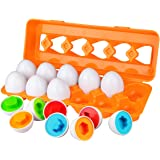 Aiduy Toddler Eggs Set Toys for 1 2 3 Years Old Boys Girls, Colour Sorting Educational Toys for 1 2 3 Year Olds, Colour Matching Egg Toys for Toddlers Kids Children, 12pcs