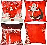 Weihnachten Kissenbezüge 4er Set / Weihnachtskissenbezüge, 45x45CM, Hauptdekoration Festival Kopfkissenbezug, Schöne Dekoration Designs, große Ergänzung für Weihnachtsdekoration.