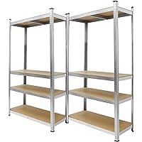 ECD Germany 2 x Scaffale per Officina in Metallo Scaffale per Carichi Pesanti 160x80x40 cm Fino a 320kg Scaffale…