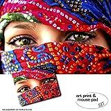 Geschenkset: 1 Poster Kunstdruck (120x80 cm) + 1 Mauspad (23x19 cm) - Frauen, Arabische Augen