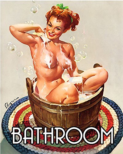 Bathroom Pinup Pin-up Girl 6x8inch METAL Wall Sign Plaque Vintage Retro poster art picture print by Chill