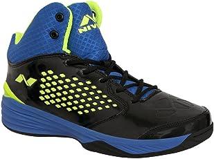 Nivia Men's Warrior-1 PVC Black and Blue Basketball Shoes