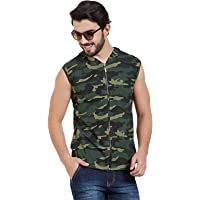 Wear Your Opinion Men's Cotton Camouflage Army Military Print Sleeveless Hooded Jacket Tshirt
