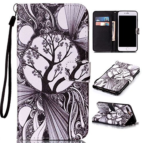 Price comparison product image For iPhone 7 Plus (5, 5 zoll) Leather Flip Case Cover, Ecoway Colorful Painted PU Leather Stand Function Protective Cases Covers with Card Slot Holder Wallet Book Design, Soft TPU Silicone Inner Bumper Full Protection Detachable Hand Strap for iPhone 7 Plus (5, 5 zoll) - Black and white trees