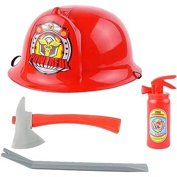 Vetrineinrete® Set Accessori da Pompiere con Casco Rosso Distintivo ... e477adf39692
