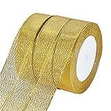 BENECREAT 125 Yards (5 Rollen X 25 yd) 1-Zoll breit Premium Glitter Metallic Schleifenband Dekoband Geschenkband Zierband f¨¹r Hochzeit, Urlaub, Dekoration, Geschenkpapier (Gold)