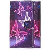 tinxi® Kunstleder Tasche für LG K4 Tasche Flipcase Schutzhülle Cover Schale Etui Skin Standfunktion mit Karten Slot bunte Schmetterling