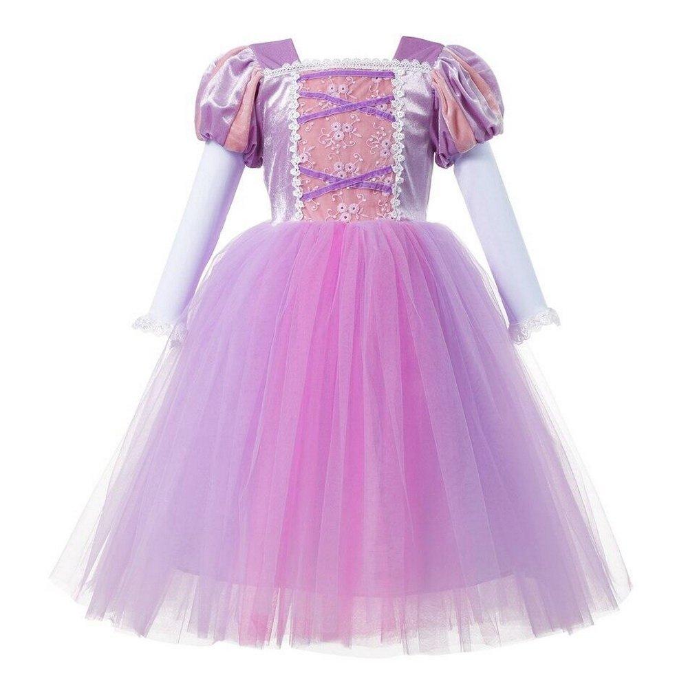 Disfraz de la princesa Rapunzel para niña, de color rosa