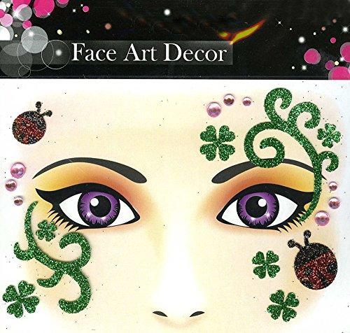 Face Art Decor Glitzer Tattoo Sticker Marienkäfer Kleeblatt - Wunderschöne Dekoration für Gesicht zu Karneval, Geburtstag, Mottoparty oder (Verschiedene Von Kostüme Märchen Arten)