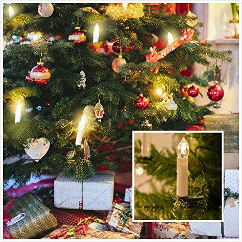 Bluefire 10pcs LED luz de las velas, con mando a distancia y clips de portavelas funciona con pilas árbol de Navidad velas para decoración del hogar Boda Fiesta
