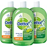 Dettol Liquid Disinfectant for Floor Cleaner, Surface Disinfection, Personal Hygiene (Lime Fresh, Pack of 3 - 500ml each)