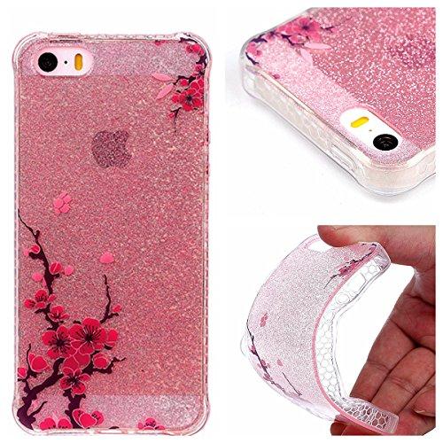 Beiuns pour Apple iPhone 5 5G 5S / iPhone SE (4 pouces) Coque en Silicone TPU Housse Coque - YT008 Plumes YT004 Fleur de Prunier