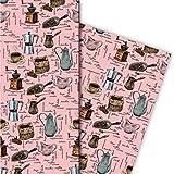 Gezeichnetes Kaffeehaus Geschenkpapier Set (4 Bogen)/Dekorpapier mit Kaffeemühlen und Kaffee Varienten, rosa, für tolle Geschenkverpackung und Überraschungen basteln 32 x 48cm