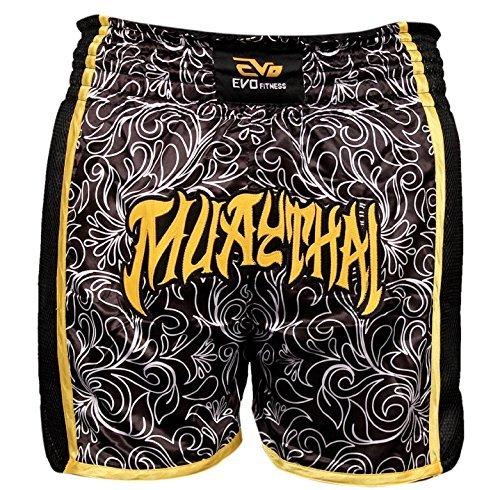 EVO Muay Thai Wettkampfhose MMA Kickboxen Ringen Kriegerisch Arts Ausrüstung UFC Herren - schwarz & Golden, Medium