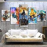 mmwin Leinwand Haus s 5 Stück Aquarellbilder Wandkunst gedruckt Modulares Plakat für Zimmer