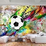 decomonkey Fototapete Graffiti Fußball 350x256 cm XL Tapete Fototapeten Vlies Tapeten Vliestapete Wandtapete moderne Wandbild Wand Schlafzimmer Wohnzimmer Jugendzimmer Ball