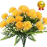 Künstliche Blumen, 4 Pcs Nahuaa Kunstblumen Deko Badzimmer unechte Blumen Löwenzahn-Strauch für Party Hochzeit Wohnung(Gelb)