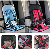Buyerzone Adjustable Baby Car Cushion Seat with Safety Belt for Child (Multi Color)
