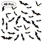 Decorative 3D Bats Wall Stickers, Halloween Party Supplies DIY Decal Wall Stickers Halloween Eve Decor Home Window...