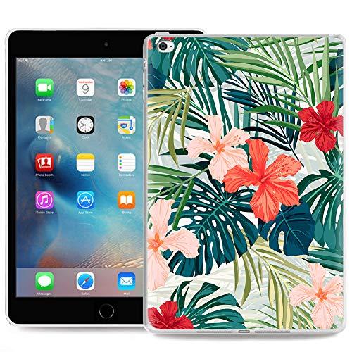 ZhuoFan Cover per iPad Mini 5, Custodia Cover Silicone Trasparente con Disegni Slim Antiurto TPU Morbido Bumper Case Protettiva per Apple iPad Mini 5 Tablet, Foglie di Fiori